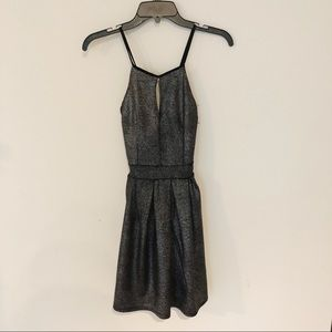 Boohoo Metallic Crossback Fit & Flare Dress
